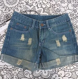 Roll cuff mom jeans shorts